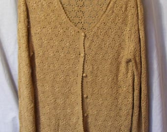 Coldwater Creek, Crochet Sweater, Gold, Light Weight, Long Sleeve, Office, Church, Resort Cruise Wear, School Clothes, Size Medium
