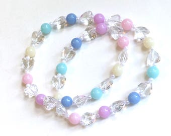 Candy Princess - Clear Heart Jewel Stretch Necklace with Pastel Rainbow Beads and Faux Pearls