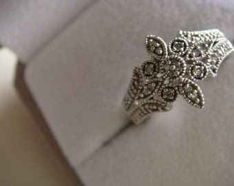 Silver and Diamonds Chips Ring