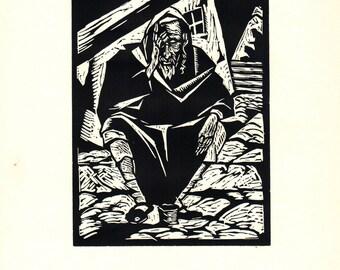 Todros Geller-Yemenite Beggar-1929 Woodblock
