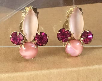 Pink Rhinestone Iced Frosted Clip On Earrings