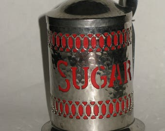 Vintage Sugar Canister Red Lined Silverplate Cutout Sugar Design Decorative Kitchen Storage