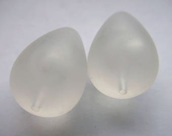 Vintage Matte Frosted Clear White Very Large Lucite Focal Beads x 2    # GGGG 13