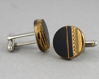 Gold and Black - Vintage glass button cufflinks, repurposed, up cycled cuff links