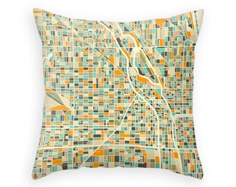 CHICAGO MAP Throw Pillow for your Home Décor (ivory version)