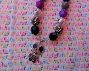"Halloween Jack Skellington Black & Purple Girls Chunky Necklace *Ready to ship* 18"" Nightmare"