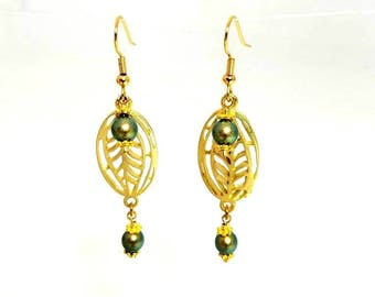 Green Swarovski Crystal Pearl Gold Leaves Branch Earrings Hypoallergenic Nickel Free Earrings Long Leaf Earrings Iridescent Beaded Jewelry