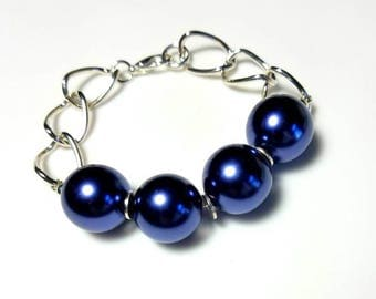 Chunky Blue Glass Pearl Bracelet Bold Silver Chain Bracelet Large Pearl Jewelry Beaded Statement Bracelet Funky Jewelry Gifts for Her