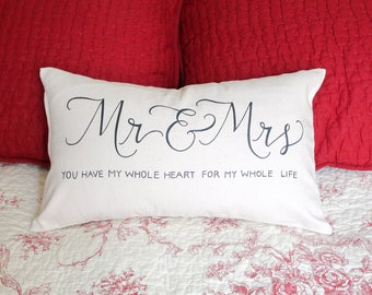 Mr. and Mrs. Canvas Pillow Cover