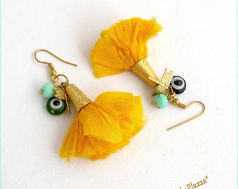 Silk yellow earrings, beads and Dragonfly charms