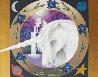 Mandala Féerique - La Licorne - Création sur commande personnalisée - Acrylique et techniques mixtes - 70 cm x 70 cm - Création d'artiste