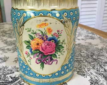 Vintage tin from England storage decor collectible