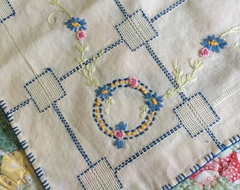 Vintage high detail embroidered square tablecloth blue flowers
