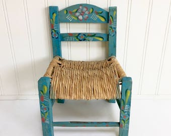 VINTAGE Turquoise Blue Chair - Mexican Painted - Aqua Floral -  Hand Painted - Doll Chair - Wooden Chair, Wood Childs Chair