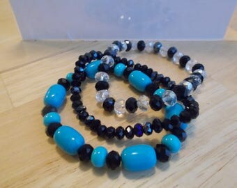 3 Stretch Bangle Stretch Bracelets with black and Clear Crystal Beads and Brite Blue Turquoise Beads
