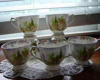 Vintage tea cups Royal Albert Kentish Rockery bone china made in England 7 pc set orphaned cups porcelain cups
