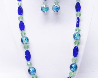Round Aqua Swirl w/Royal Blue Oval Glass Bead Necklace & Earrings Set