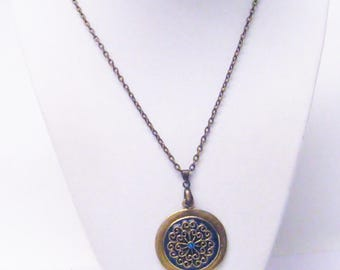Round Teal on Bronze Pendant Necklace