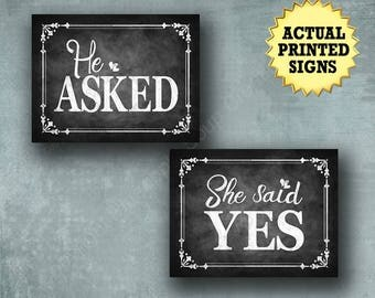 He Asked, She Said Yes, engagement signs, Chalkboard Engagement Props, photo props, engagement photos, save the date props, rustic wedding