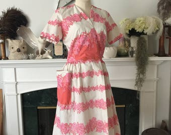 50s Coral and Pink Floral Cotton Dress