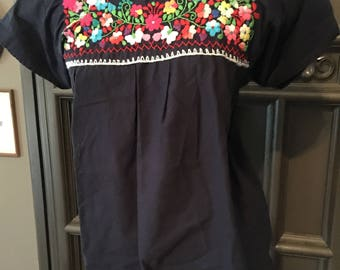70s Navy Embroidered Mexican Peasant Blouse