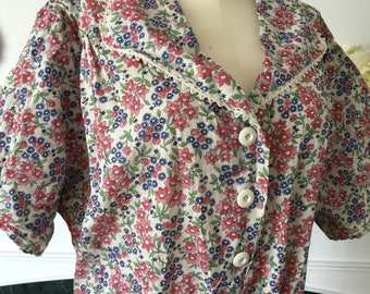 Deadstock 40s Red Blue Floral Curvy Size House Dress