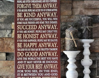 Mother Teresa, Quote, Be Kind Anyway, Wood Sign, Give Your Best Anyway