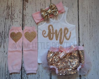 First Birthday outfit girl- tank top outfit-  pink and gold First Birthday outfit-girl 1st Birthday Outfit- 1st Birthday -cake smash outfit