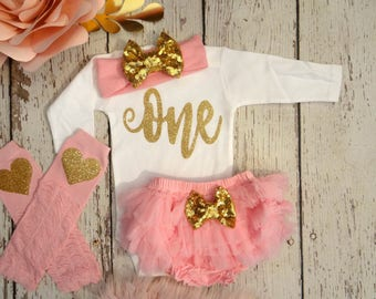 Pink and Gold first birthday outfit - First birthday outfit,  Pink and gold birthday- birthday girl- pink and gold  birthday party