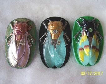 Czech Glass Buttons (3 PCS) Hand Painted SCARAB Cicada 40mm IVA 011