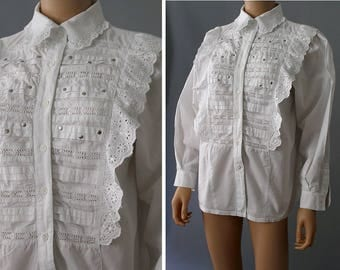 1980s Eyelets and studs ruffled white cotton shirt made in India / 80s indian blouse