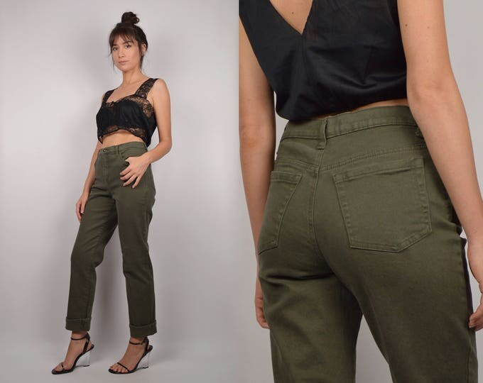Vintage High Waist Jeans Army Green