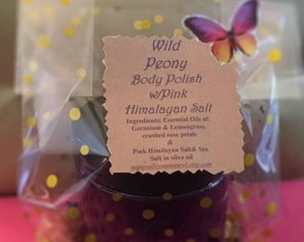 Wild Peony Body Polishing Scrub (in 4oz purple plastic jar)