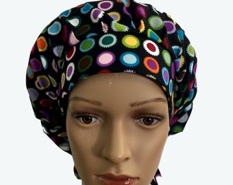 Bouffant Surgical Scrub Hat - LED Neon Colors Circles on Black Bouffant scrub hat - Colorful Custom Scrub - Doctor gift