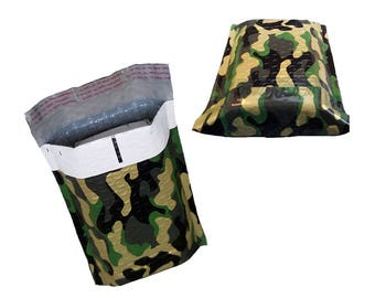 "100 Pack 4x8""  Camouflage Design Poly Bubble Mailers Self-Seal Business Envelopes Standard Mailer Bags Size #0 Protective Shipping Mailers"
