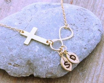 Cross and infinity Necklace . Gold cross necklace, infinity necklace. Sideways Cross necklace. 2 Custom charms. MonyArt original Design
