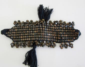 Bead Bracelet - Bronze Beads - Woven Bracelet - Square Beads - Flat Beads - Woven Cotton - Adjustable
