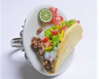 Food Jewelry, Taco Ring, Miniature Food Ring , Food Jewellery, Taco Jewelry, Mini Food Jewelry, DollsHouse Food, Kawaii Ring, Beef Taco