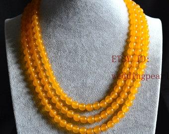 yellow Necklace,wedding necklace,yellow jade necklace,3 strands yellow bead necklace,yellow bead necklaces,round jade necklace