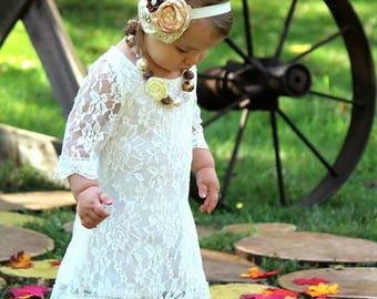 Ivory Wedding Flower Girl Headband