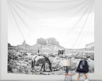 Wall Hanging Tapestry - Wild Horses in the Old West; Monument Valley Oljato [Black and White / Film / Desert Cowboy Gold Rush / Wanderlust]