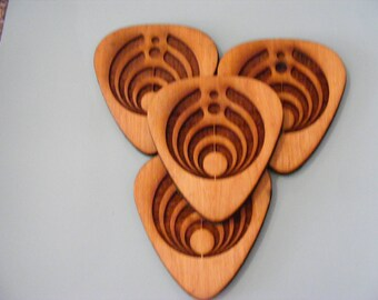 Laser engraved Bassnectar Guitar pick Coasters 10cm x 9cm set of 4