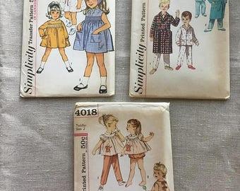 Set of 3 Vintage 1960s Children's Patterns - Size 2 - Simplicity 4018, 4250, 5847 - Uncut with Factory Folds