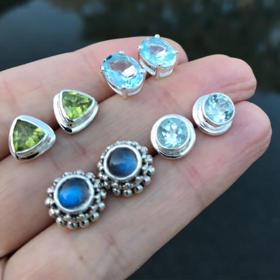 Birthstone Stud Earrings, labradorite earrings, topaz earrings, peridot earrings, wedding earrings