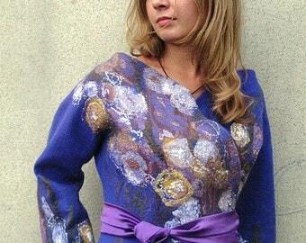 "Felted jacket Felt Jacket Blue Jacket Jacket of wool, Merino Wool  Jacket ""Royal Blue"""