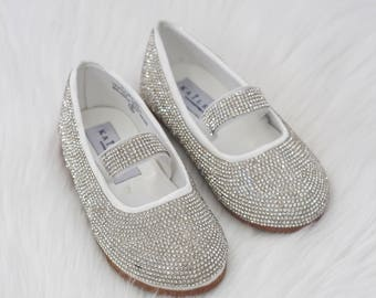 Infant Girls shoes- Rhinestone maryjane flats with elastic strap -  perfect for weddings, princess, fairies and flower girls