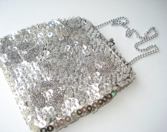 Silver Sequin Purse -  Evening Bag Clutch with Silver Chain - Women's Formal Prom Accessories - Vintage