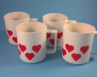 Four Children's Play Cups  - White Heart Mugs  - Bambola Melamine Kitchen Toys - Denmark