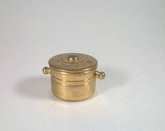 Vintage Miniature Brass Stock Pot - Kitchen  Cooking  - Doll House Collectibles Holland