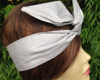 Matte Platinum with Silver Specks  Wired Dolly Bow Rockabilly Hair Scarf - Bandana Headband